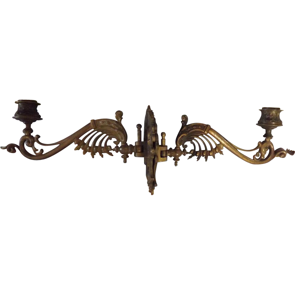 A Pair Of Victorian Art Nouveau Piano Candle Sconces