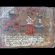 Mexican Folk Art RETABLO - Ex Voto - Circa 1914
