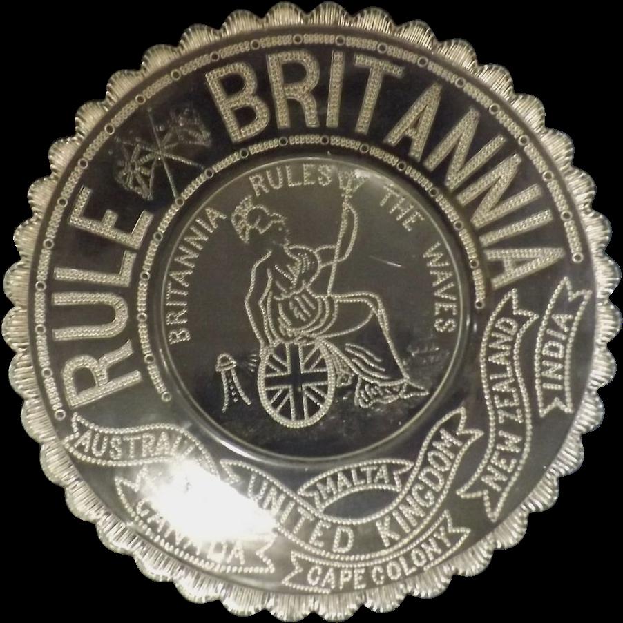 British 'Rule Britannia' Glass  Plate  - Circa 1880-1900