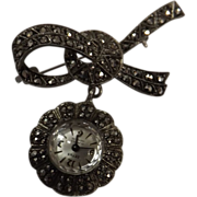 Swiss ZETUS Marcasite 'Bow Brooch' Watch  -Circa 1950
