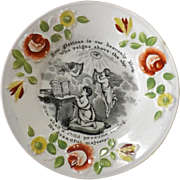 Victorian Child's Decorated Plate - Religious -Prayer & Angels