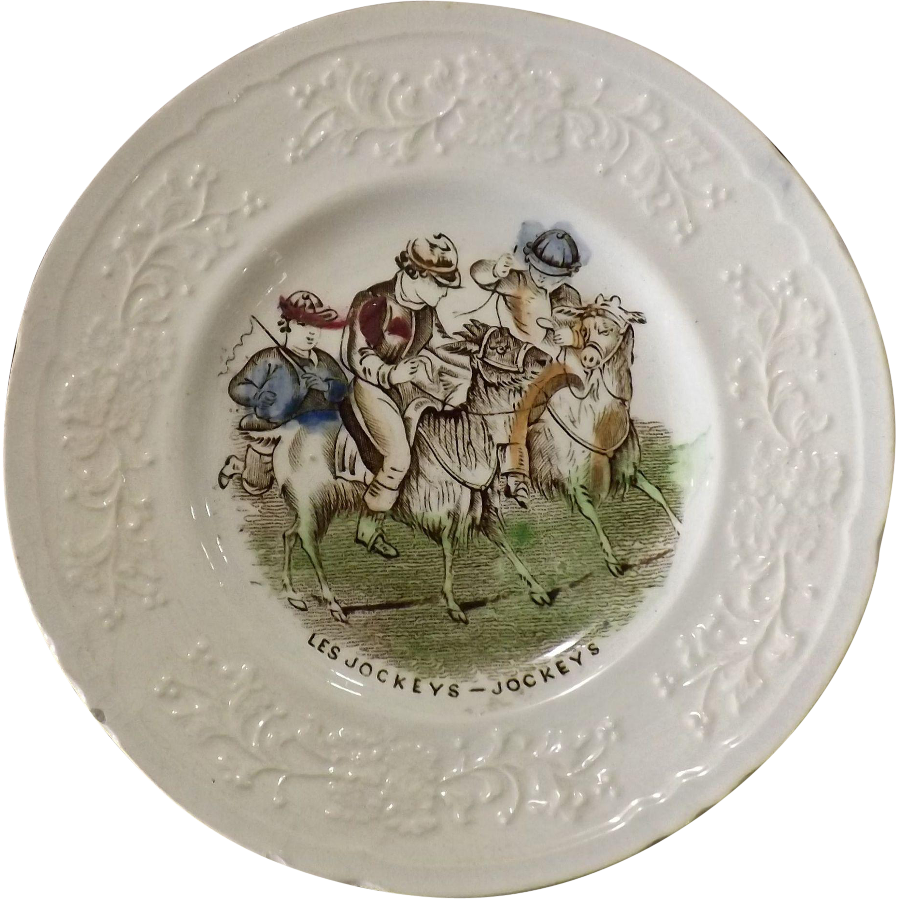 Victorian Child's Decorated Plate -Les Jockeys - Jockeys
