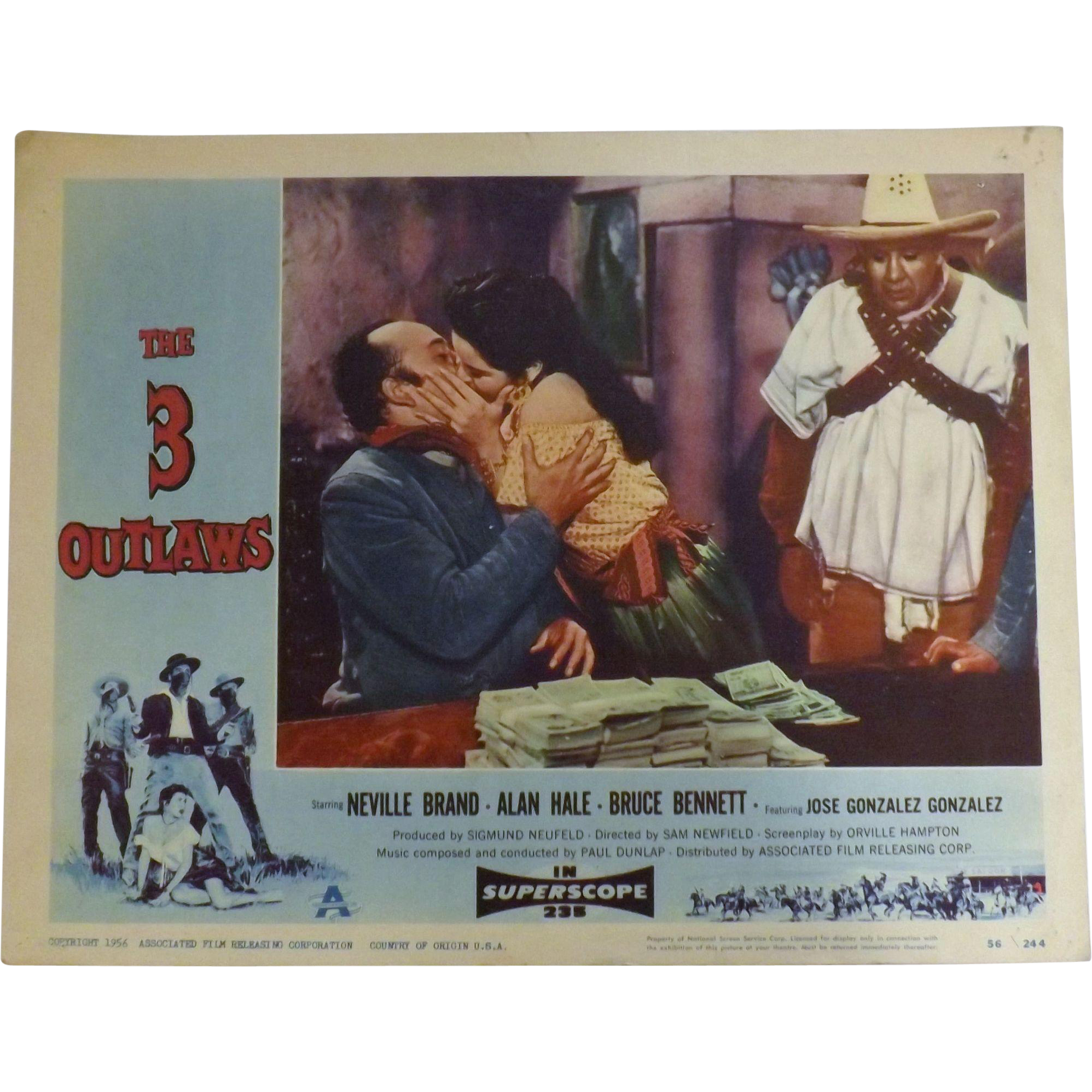 The 3 Outlaws -1956 Lobby Card