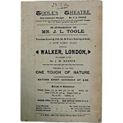 "Theatre Program ""TOOLE'S Theatre"" London 1892"
