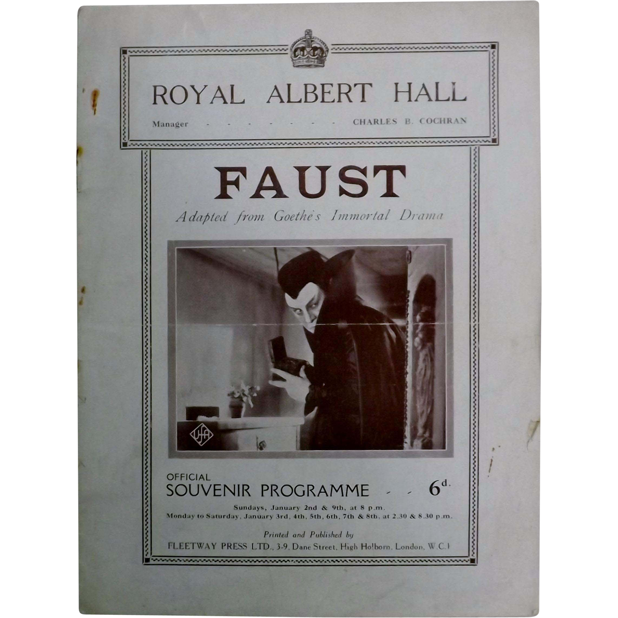 "Theatre Program ""Royal Albert Hall"" London 1927"