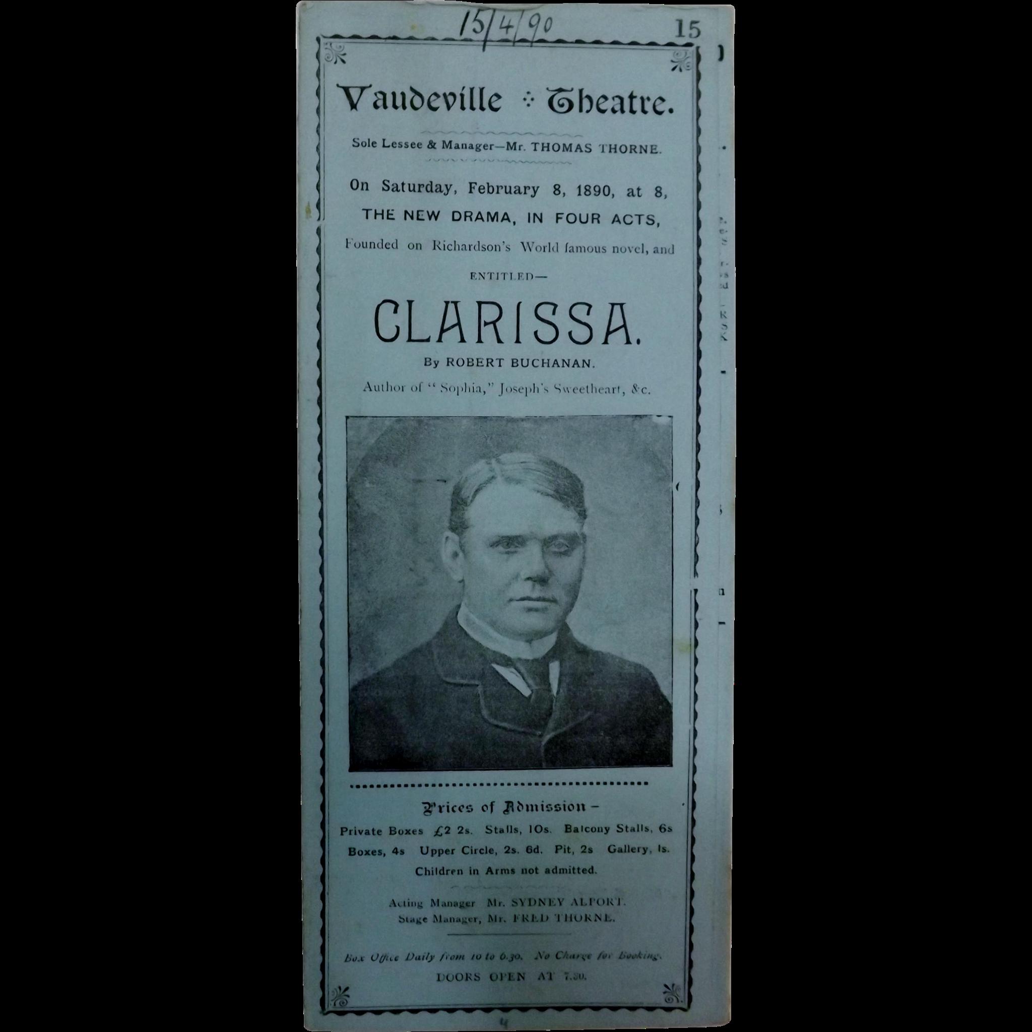 "Theatre Program ""Vaudeville Theatre"" London 1890"