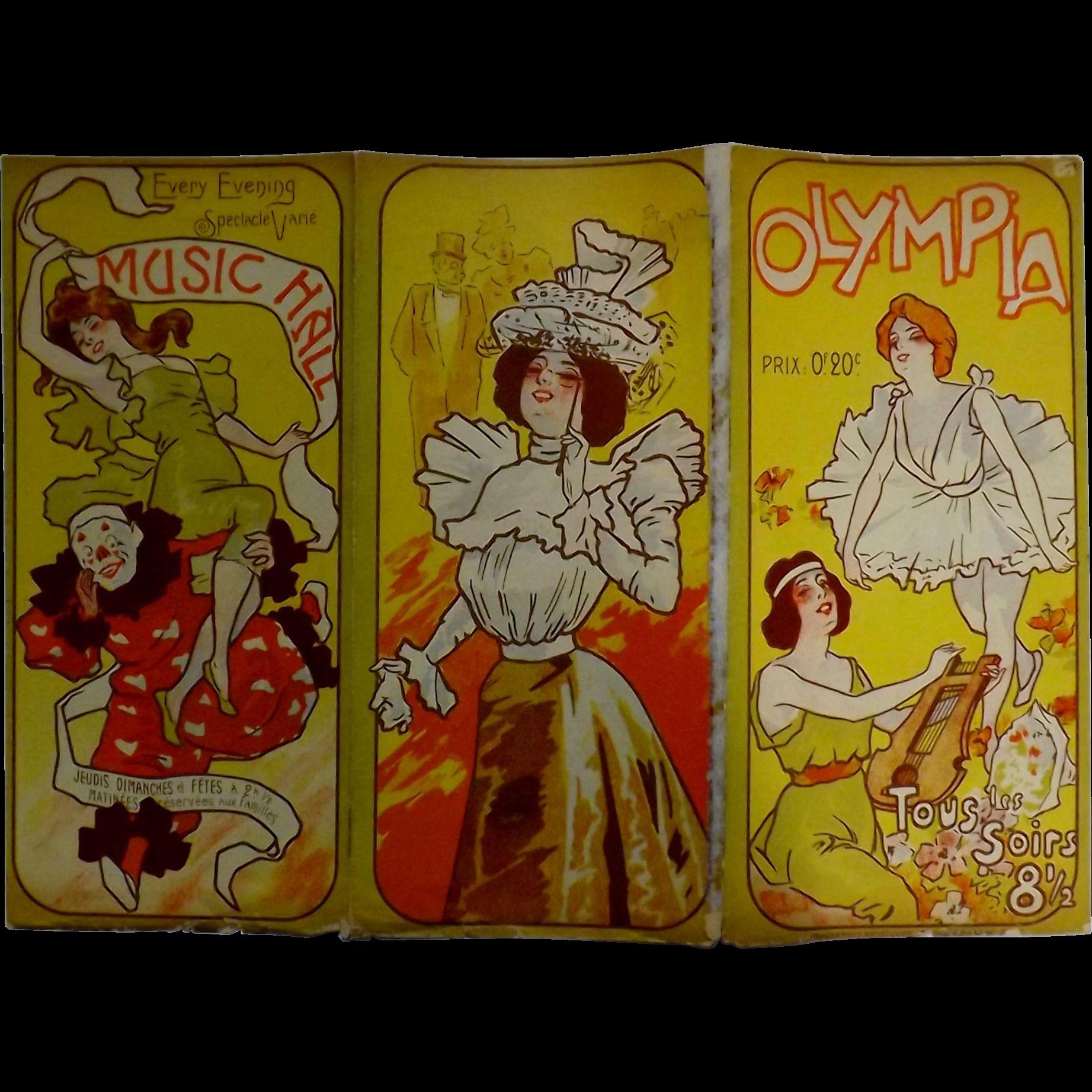 """RARE Original Art Nouveau Theatre Program """"The OLYMPIA"""" Paris 1898"""