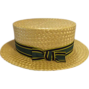 Wonderful Straw Boater By Bonds of Norwich Circa 1940