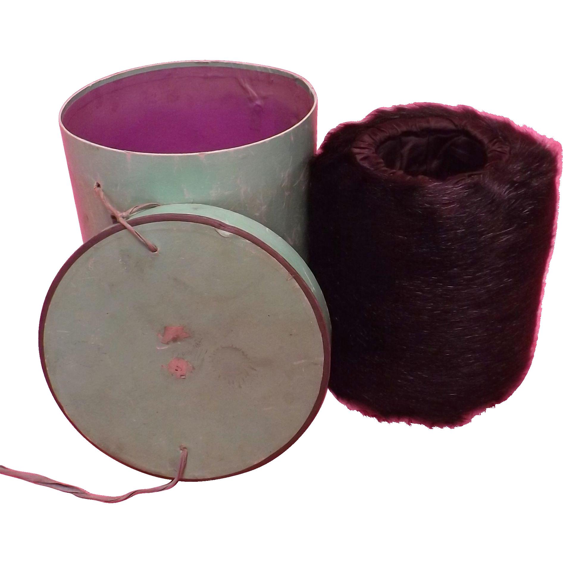 Edwardian English Ladies 'Muff' in Original Cylinder Box