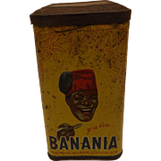 French BANANIA  Drinking Chocolate Tin Circa 1940's