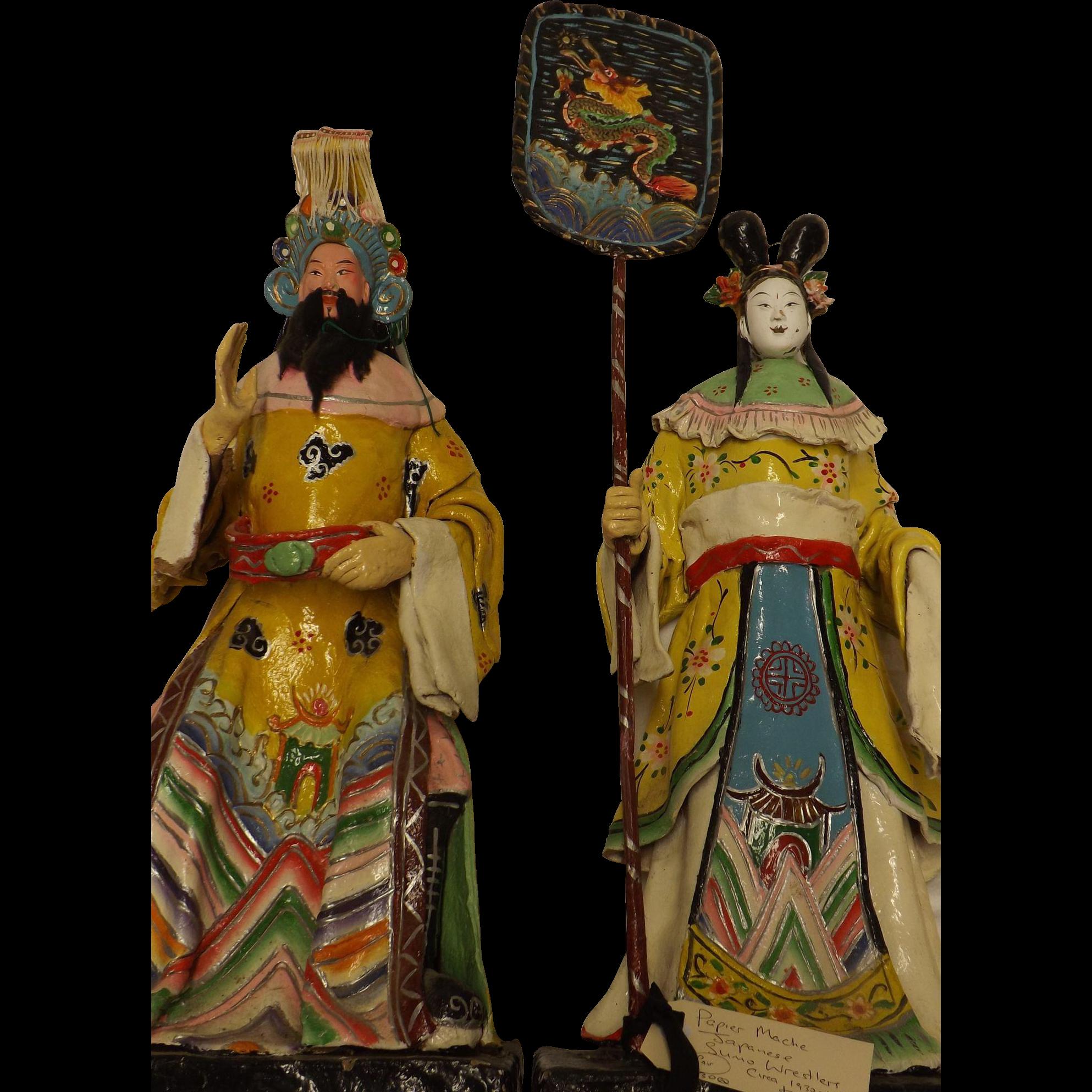 A Pair Of Japanese Sumo Wrestlers - Papier Mache Circa 1930