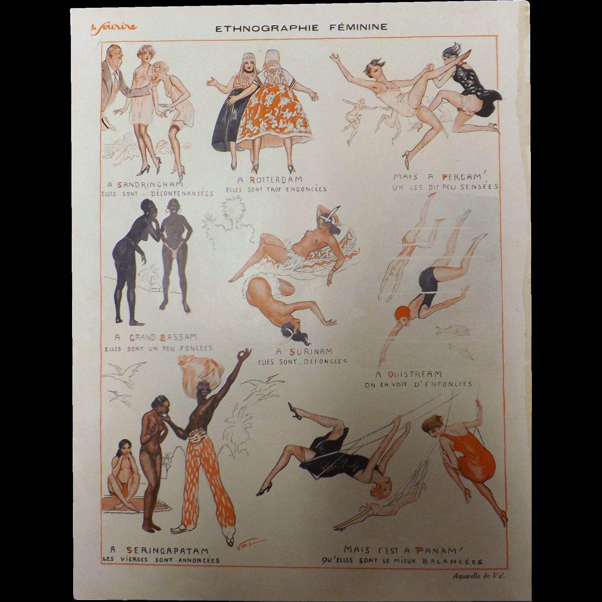 Risque French Cartoon 'Ethnographie Feminine' - Sourire Magazine 1931