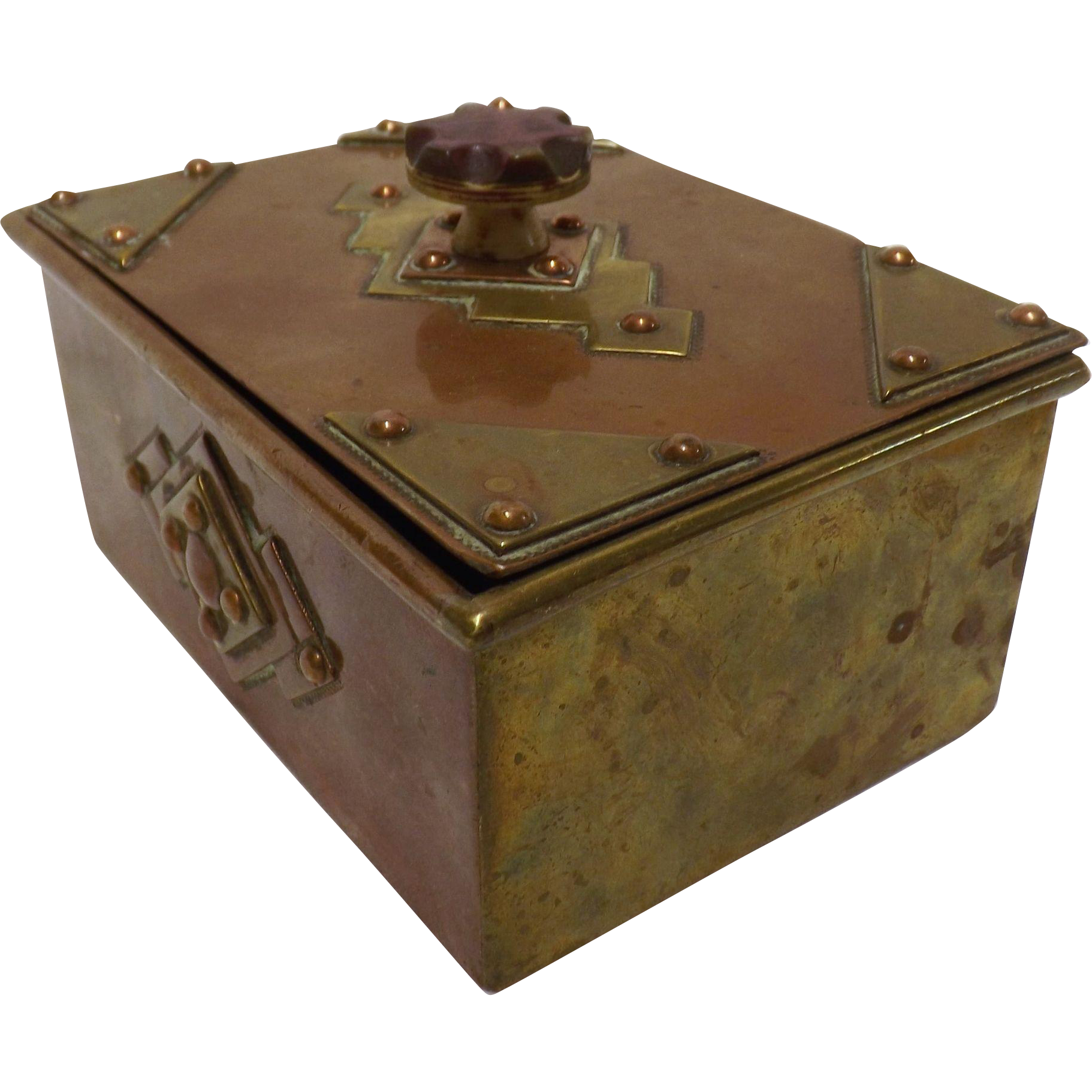 Stunning Art Nouveau Copper & Brass Trinket Box