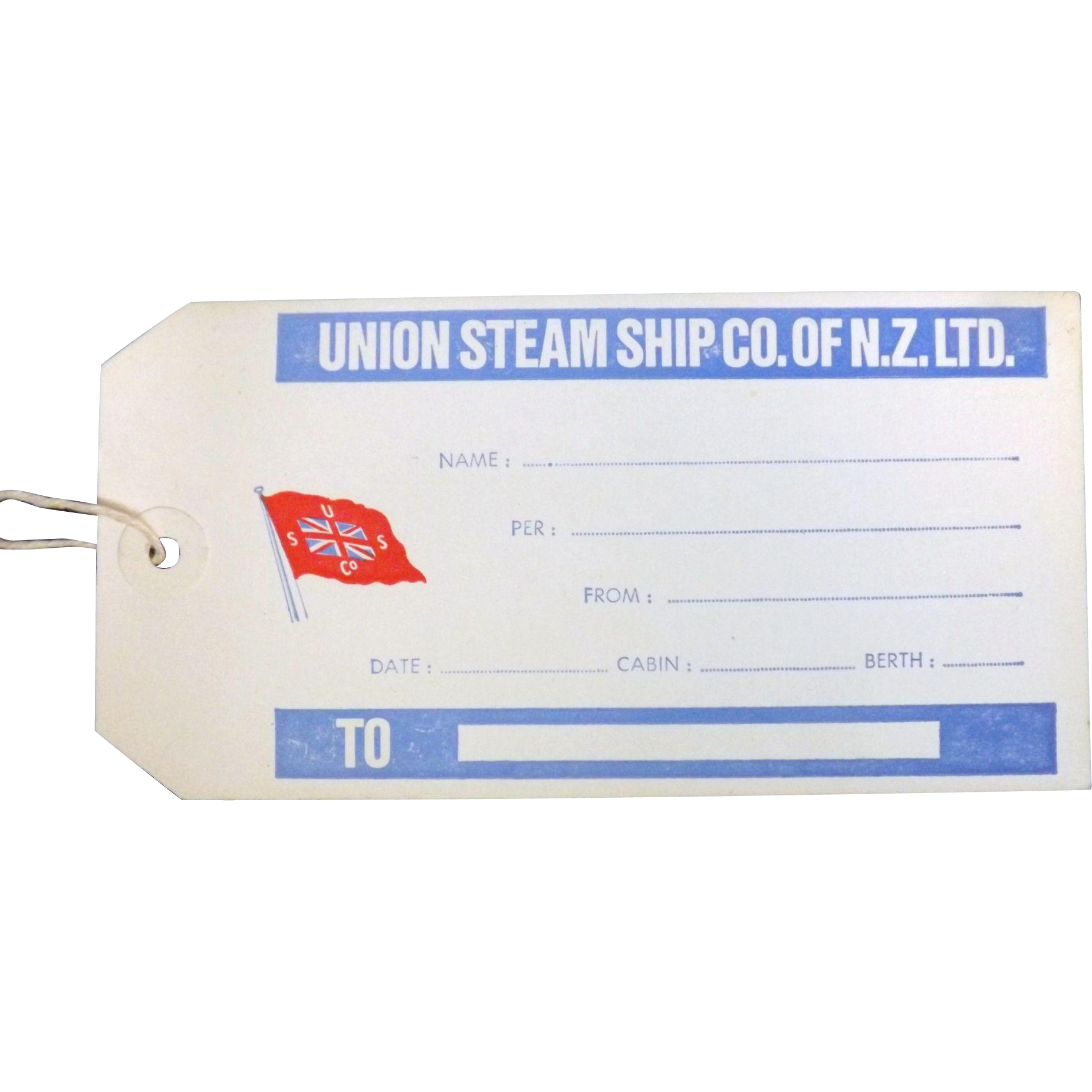 Union Steam Ship Co of NZ Baggage Label