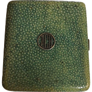 Art Deco Cigarette Case in Sterling Silver With Shagreen Finish