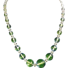 Charming Vintage Crystals Necklace in Tones of Blue & Green