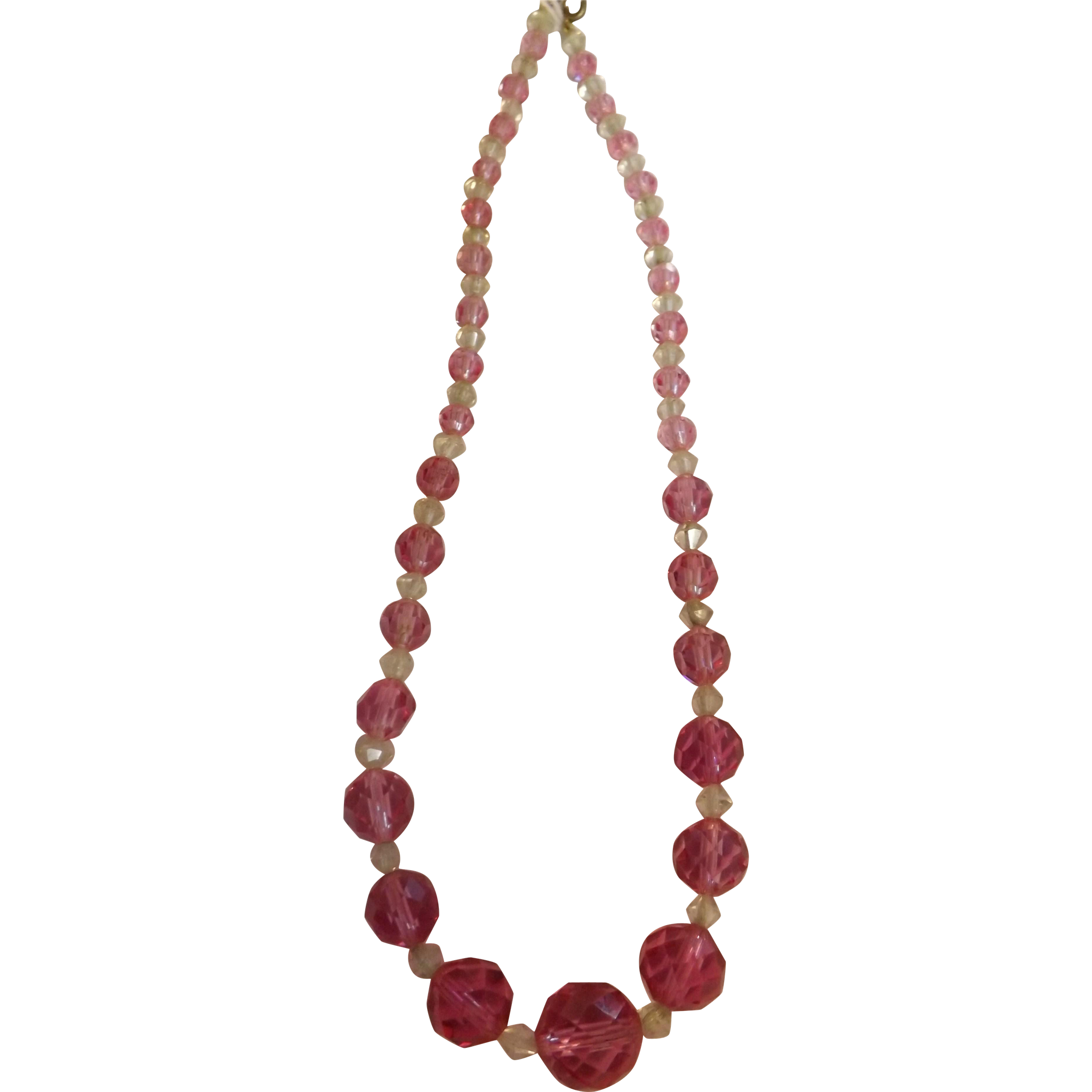 Gorgeous Raspberry- Pink Vintage Crystals Necklace Choker