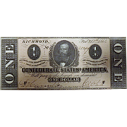 Confederates States America  1864 One Dollar Note - Uncirculated