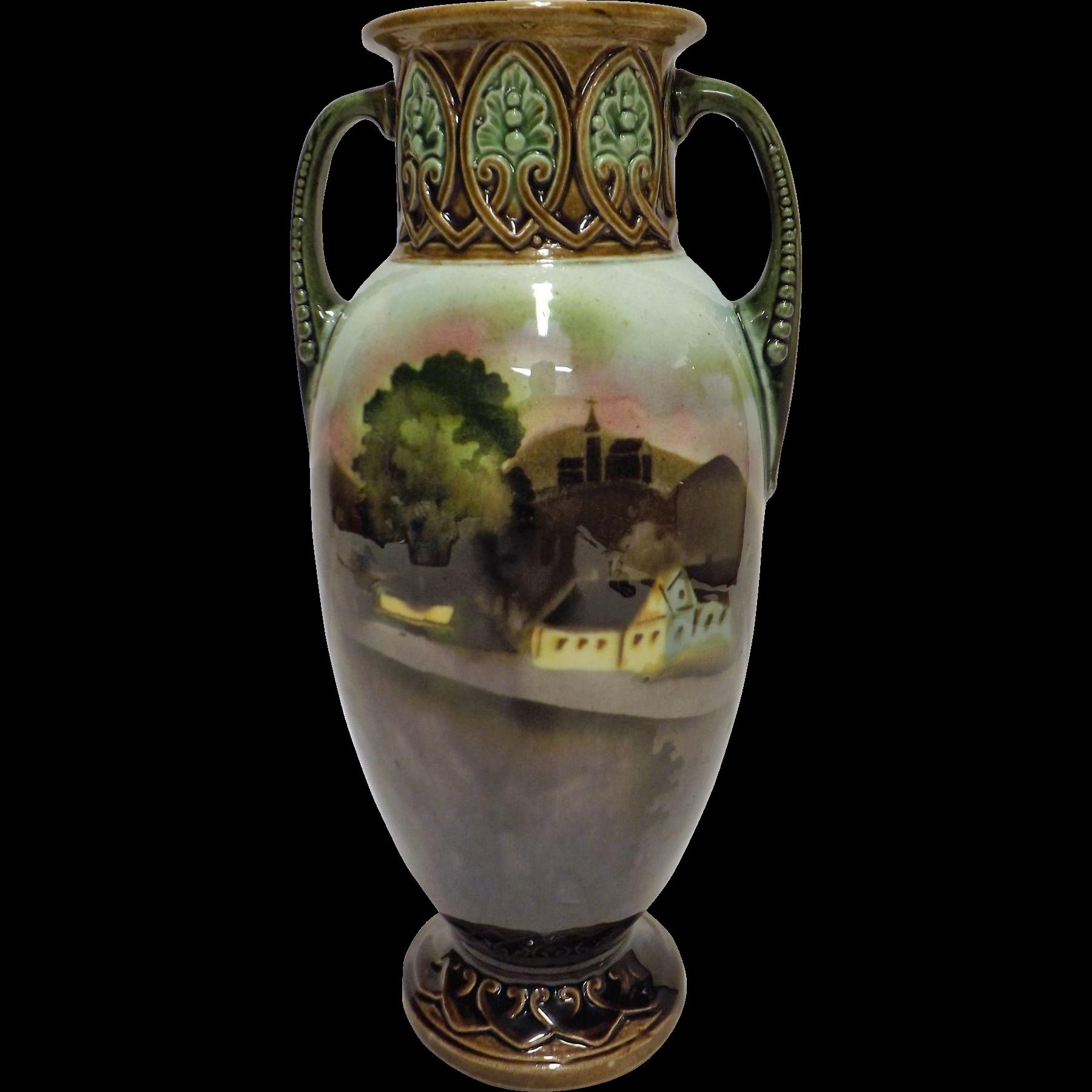 A Beautiful Italian Majolica Urn Vase Circa 1890