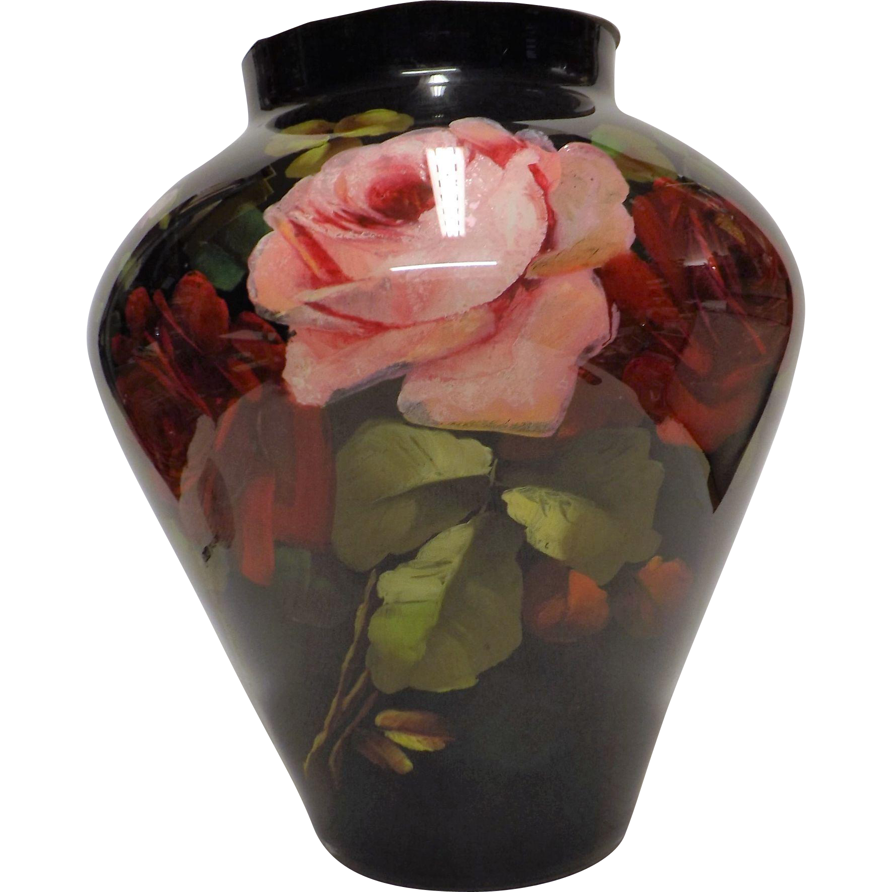 "Rare, Large & Fabulous, Early to Mid Victorian Hand Blown & Painted Glass ""Rememberance"" Vase"