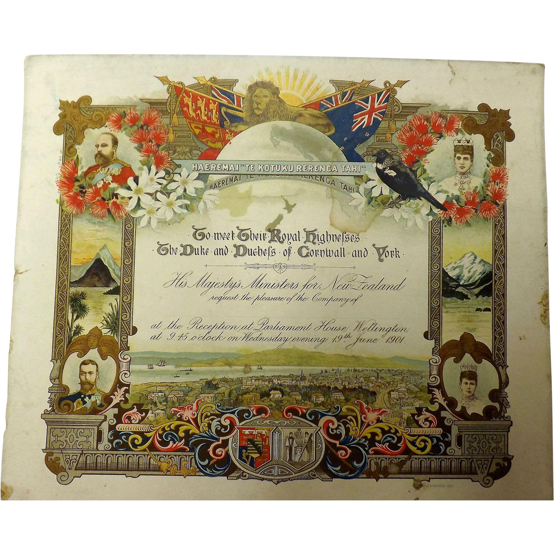 RARE 1901 Parliamentary Invitation to Meet The Duke & Duchess of Cornwall - Wellington, New Zealand
