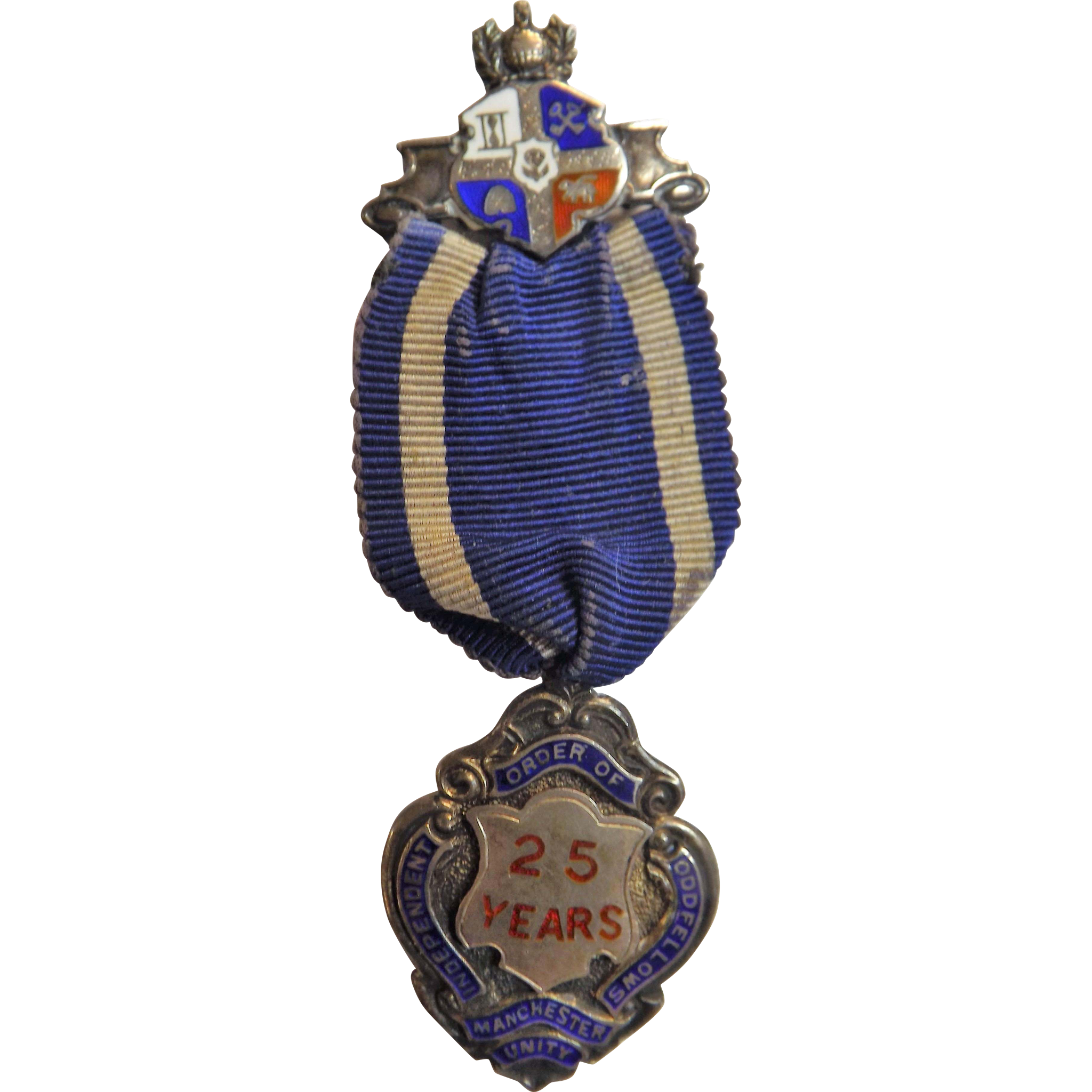 Oddfellows 25 Year Sterling Silver Medal /Jewel