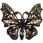 Czechoslovakian 1930's Butterfly Brooch - Art Deco Period