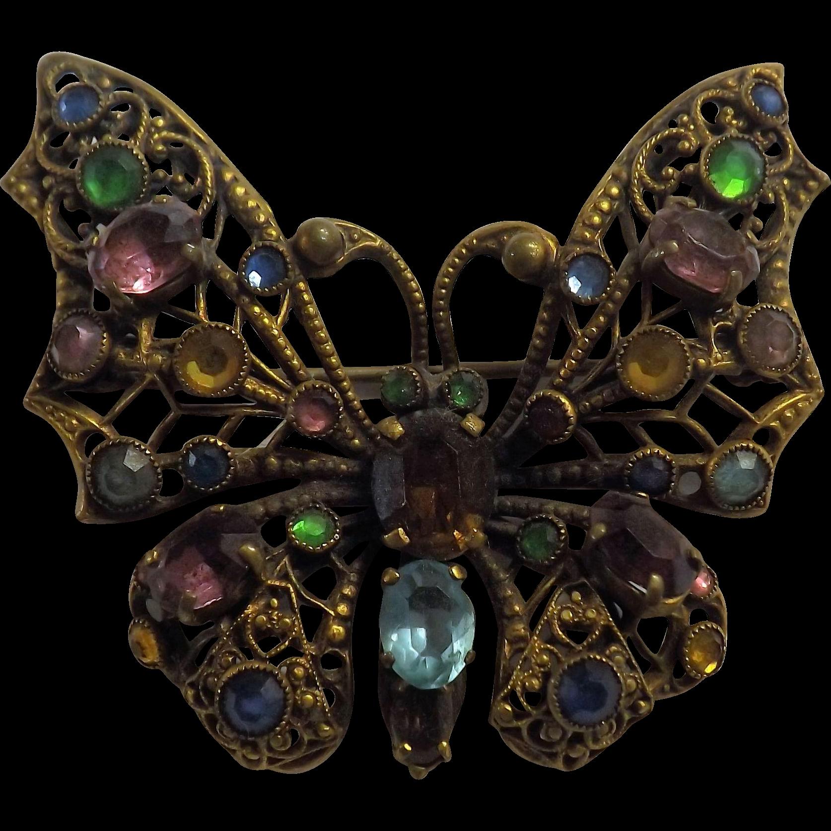 Czechoslovakian 1930's Butterfly Brooch - Art Deco Period