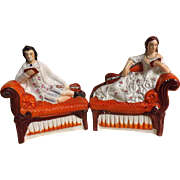 Victorian Staffordshire Flat Backs - A Pair of Book Ends