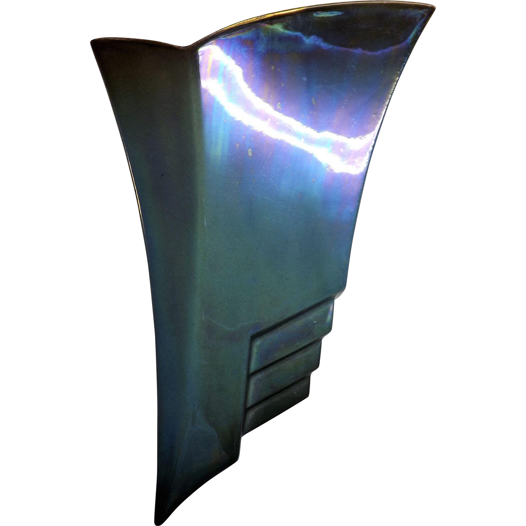 Mid Century Wall Vase By Royal Winton in Stunning Iridescent Blue With Gold Highlighting