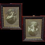 Cupid Awake & Cupid Asleep Victorian Lithographs in Original Large Frames