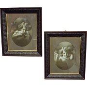 Cupid Awake & Cupid Asleep Victorian Lithographs in Original Large Frames