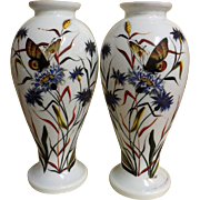 A Superb Pair Of Large Japanese Hand Painted Glass Vases - Early 1900's