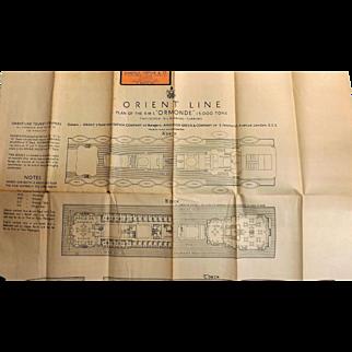 R.M.S. Ormonde Deck Plans - Orient Line - Circa 1933