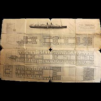 T.S.S. Monowai Deck Plans - Union Steamship Co 1935