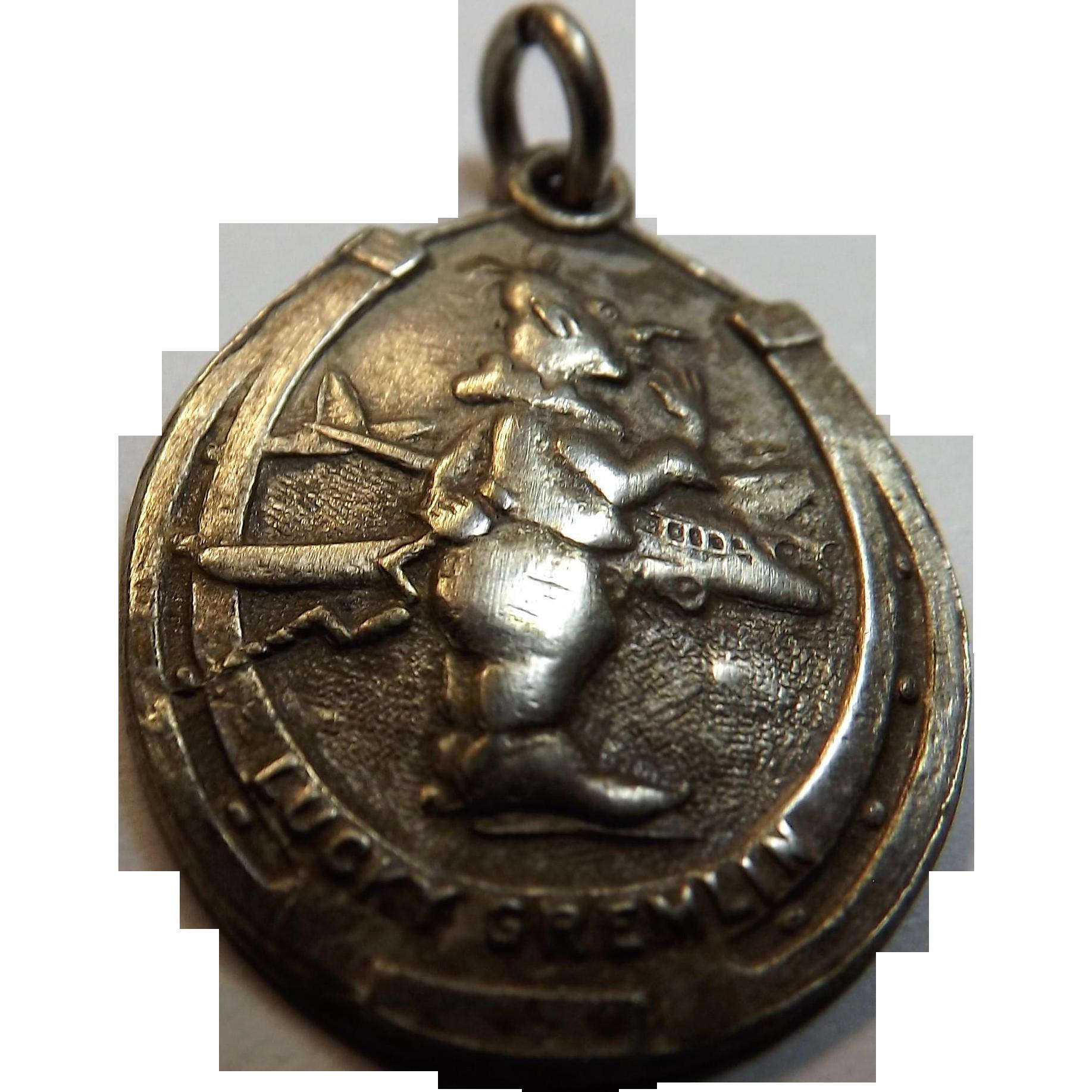 Lucky Gremlin Sterling Silver Pendant Circa 1930's