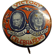 Churchill & Roosevelt WWII Victory Commemorative Tin Back Badge