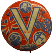 Churchill New Zealand - Great Britain VICTORY Tin Back Badge