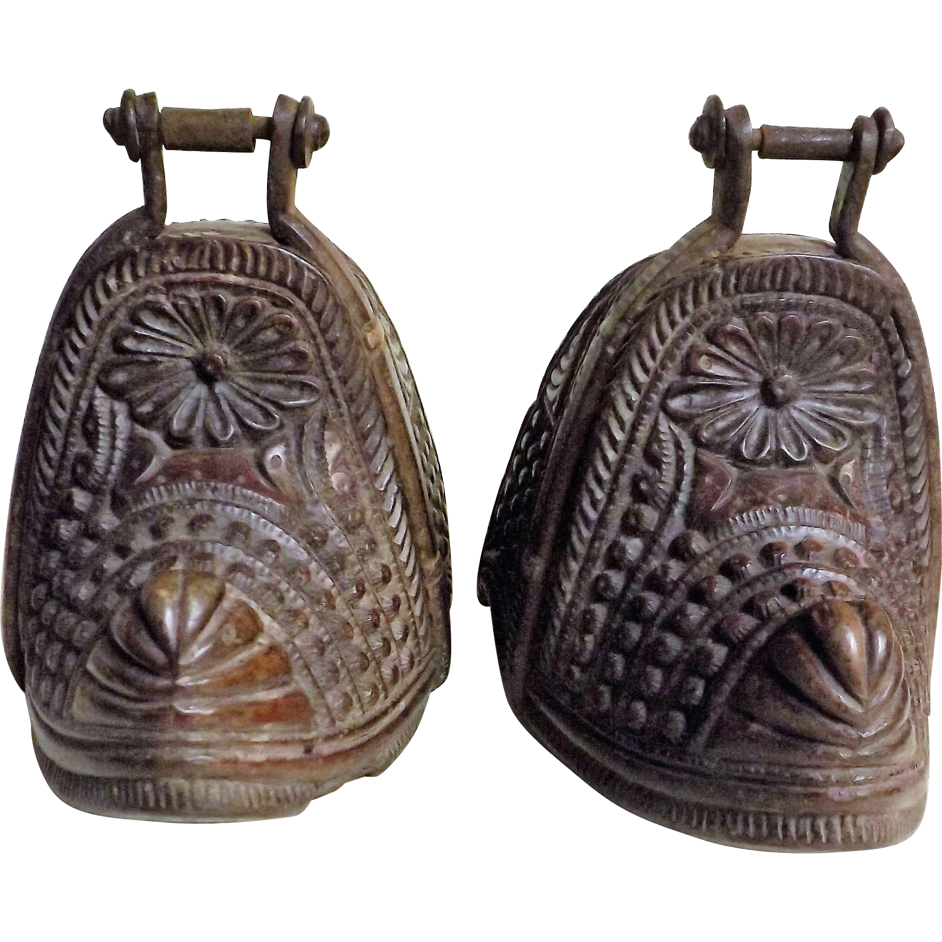 Chilean 'Huaso' Hand Carved Horse Stirrups -  19th Century