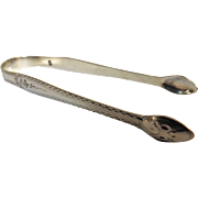 Hester Bateman Sterling Silver 'Bright Cut' Sugar Tongs - Georgian Mid 1700's