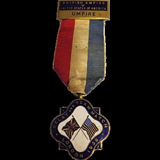Umpires Medal British Empire v USA Relay Team Match - 1936