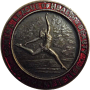 "Women's League Of Health & Beauty 1930's Art Deco Badge  -  ""Movement Is Life"""