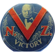 Winston Churchill WW11 Pinback Badge 'NZ VICTORY'