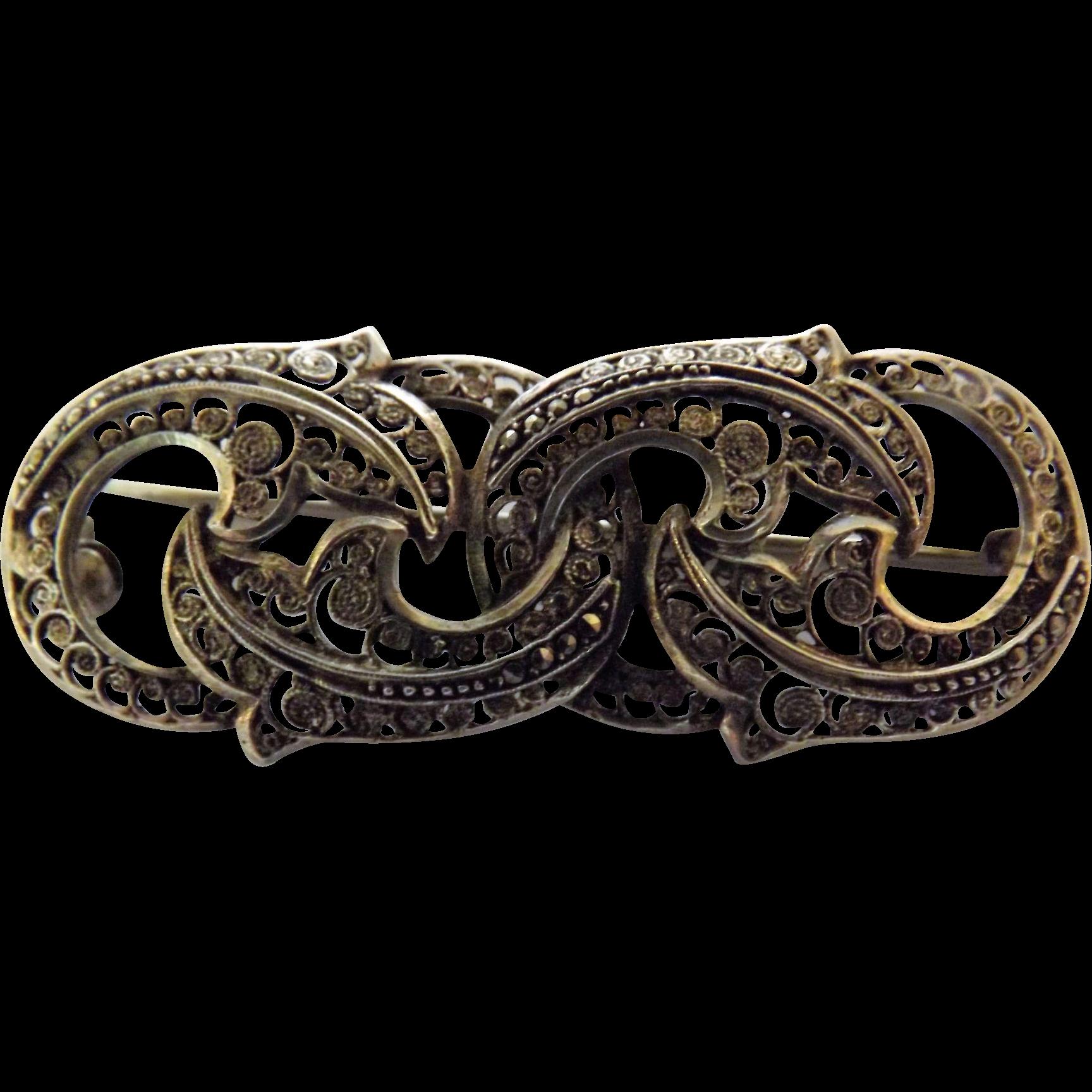 German Filigree Sterling Silver Brooch - Circa 1890-1910