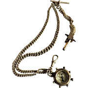 Edwardian Sterling Silver Watch Fob Chain With Two Fobs - 1904