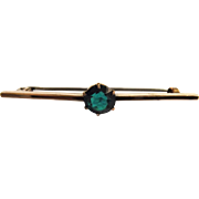 Victorian Bar Brooch in 9 Carat Gold With Glass Zircon Stone