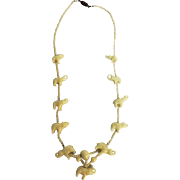 Beautiful Milk Glass Elephants Necklace - Circa 1900 -1910