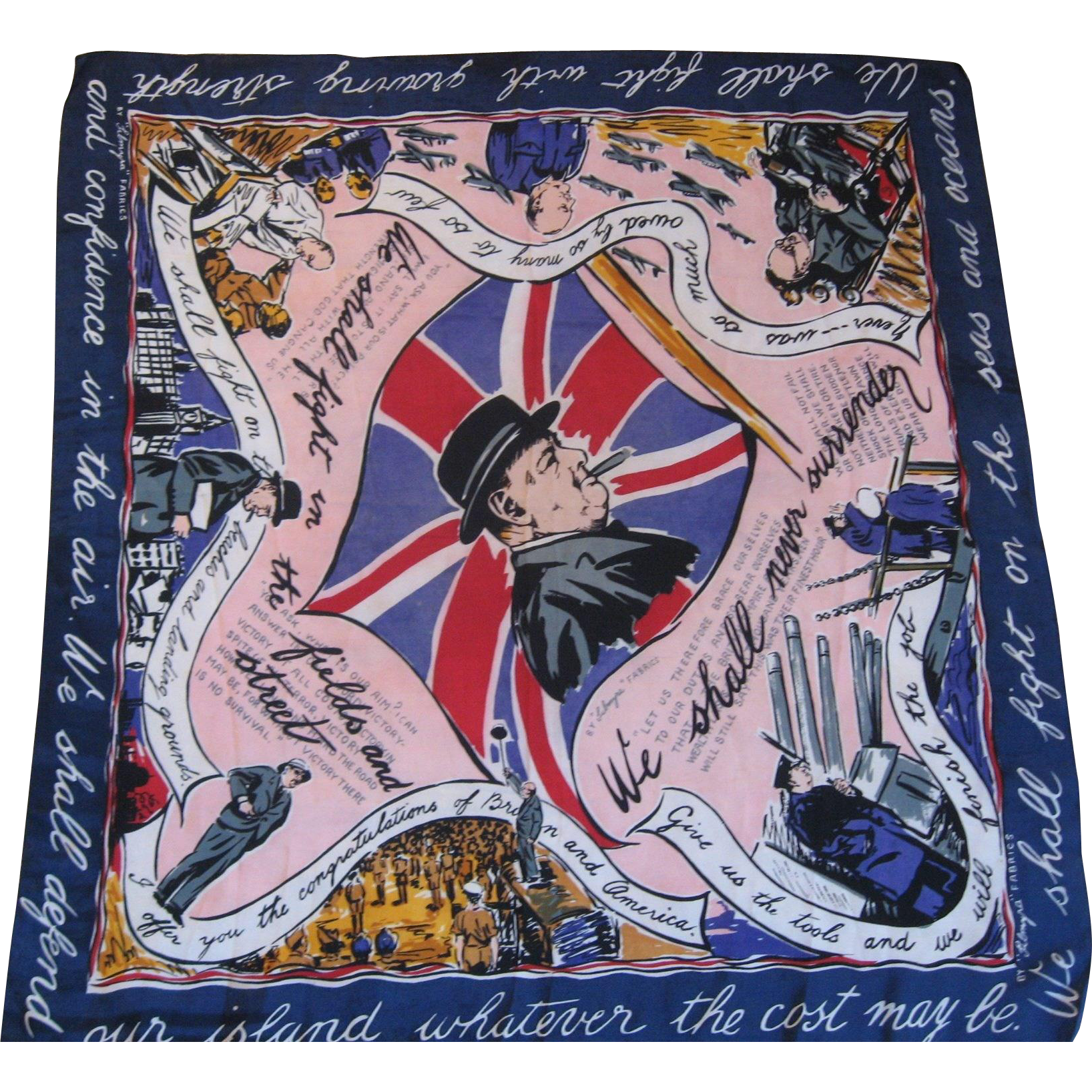Winston Churchill Patriotic Scarf World War Two -1943