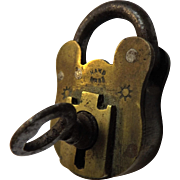 Small Victorian Brass Padlock & Key - William Tonks & Sons