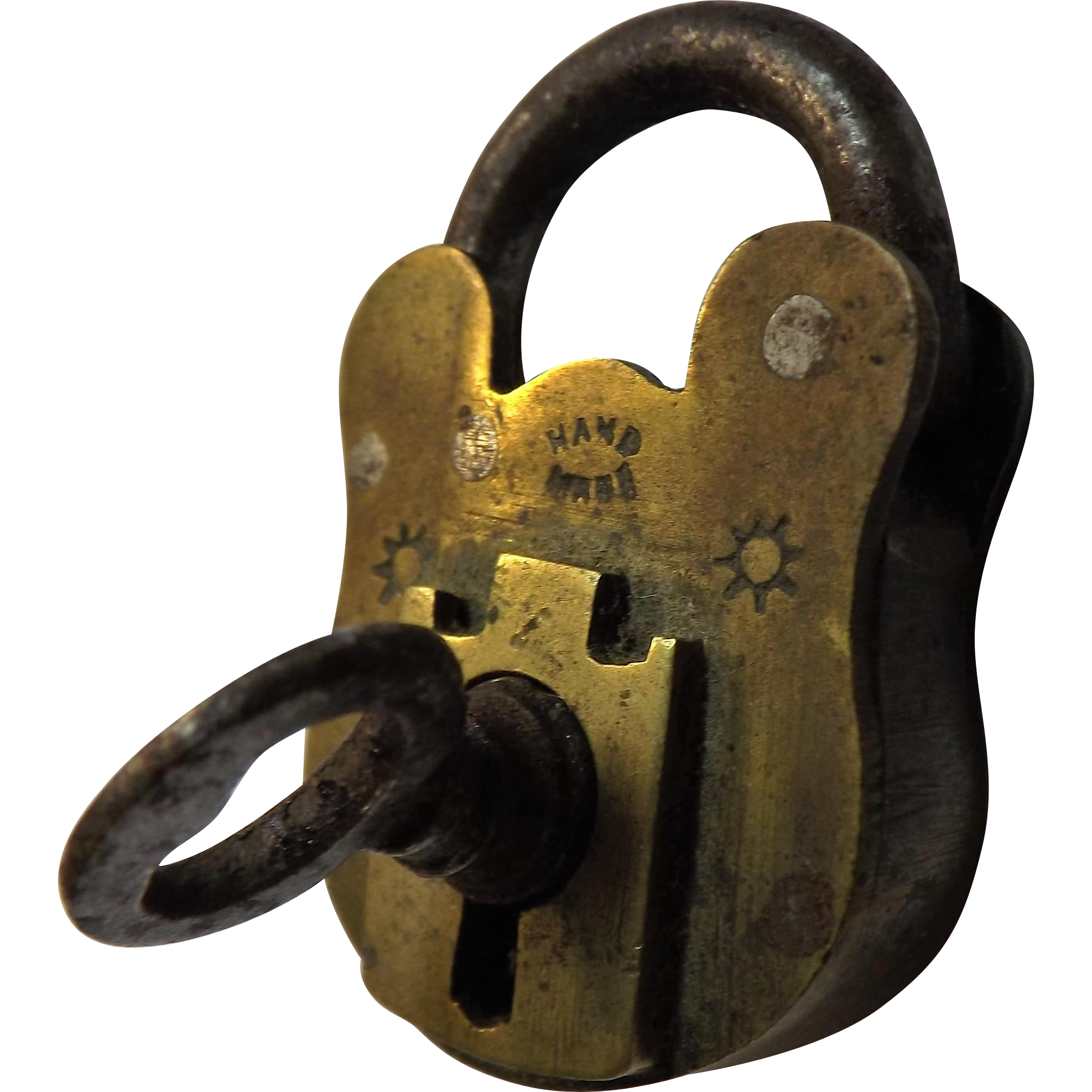 Small Victorian Brass Padlock & Key - William Tonks & Sons